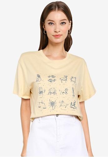 Supre white and beige Lola Printed Longline T Shirt F60BBAA1AAF854GS_1