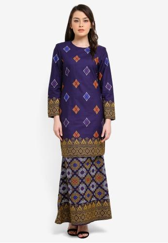 Butik Sireh Pinang blue and multi Kirana Cotton Modern Kurung with Songket Print BU003AA0S26YMY_1