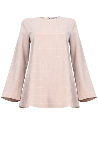POPLOOK pink Manion Flare Blouse 60A8BAA5E31F5AGS_1