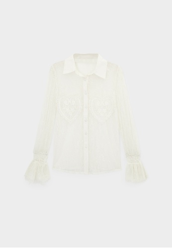 Pomelo beige Sheer Lace Button Up Shirt - Cream 16317AA1984525GS_1