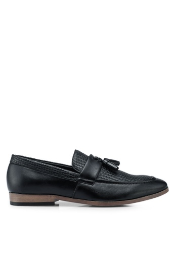 River Island black Black Tufnell Texture Loafers D9AF8SH1100A37GS_1