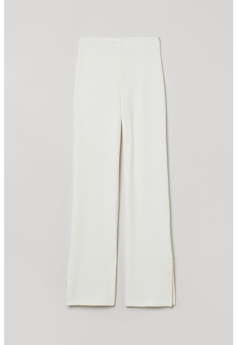 H&M white Ribbed flared trousers 529C2AAD72D74BGS_1