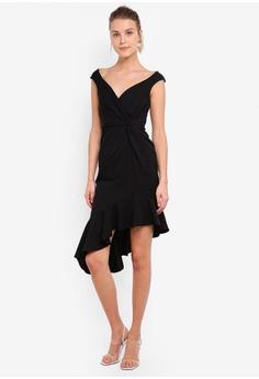 90579d39c0 Goddiva black Black Ruffle Twist Dress C4125AA083565DGS_1