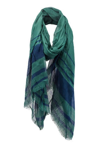 Dressing Paula green Stripe Printed Rectangle Scarf With Frayed Hem A539AAA3042DDCGS_1