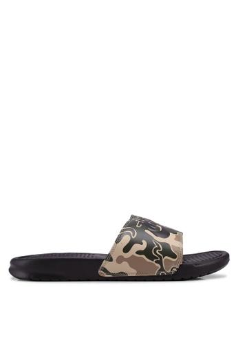 "Nike brown Nike Benassi ""Just Do It."" Print Sandals 93A3FSH4105D92GS_1"