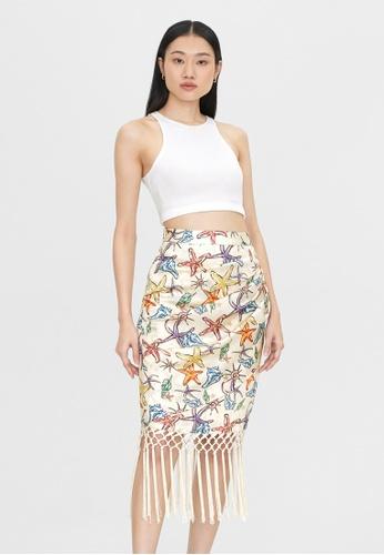 Pomelo beige Starfish Fringe Skirt - Cream 9202BAA44285A1GS_1