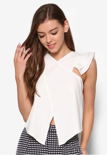 不合錯誤稱荷葉飾T-shirt、 服飾、 上衣Preen&Proper不合錯誤稱荷葉飾上衣最新折價