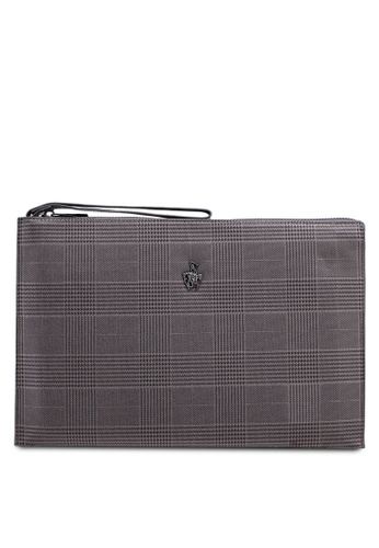 Swiss Polo grey Check Clutch Bag 2DFC4ACABBE75CGS_1