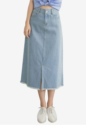 Tokichoi blue Split Denim Maxi Skirt 3CC6EAA4B30DE4GS_1