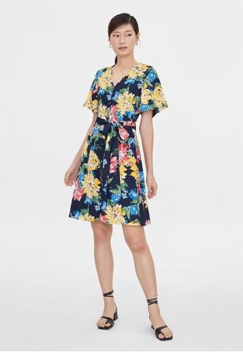 Pomelo blue Floral Tie Waist Dress - Navy AF652AAE07FF73GS_1