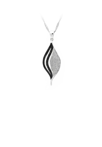 Glamorousky silver 925 Sterling Silver Leaf Pendant with Black and White Cubic Zircon and Necklace 947ABACAD1CCE4GS_1