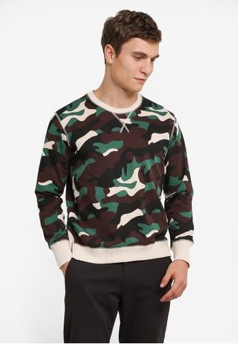 Sparrow Green 綠色 Harper Camo Sweater SP065AA0S0TMMY_1