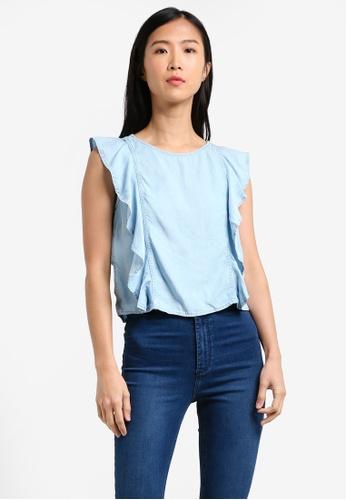 Mango blue Frilled Denim Shirt MA193AA0RXRMMY_1