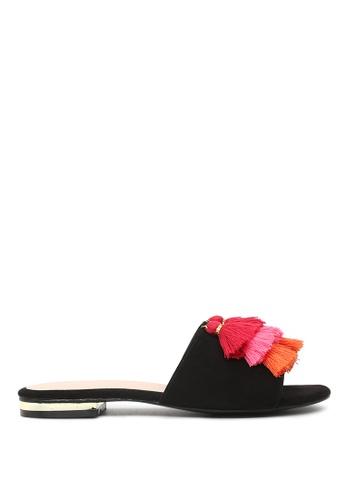 London Rag 黑色 LONDON RAG 女式黑色流苏平底拖鞋 102EESH122A0A9GS_1