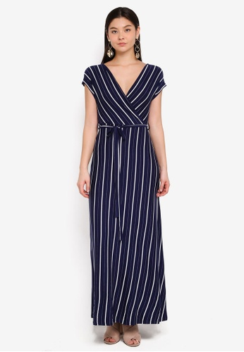 Dorothy Perkins blue and navy Stripe Jersey Wrap Maxi Dress A7A02AA548EBB1GS_1
