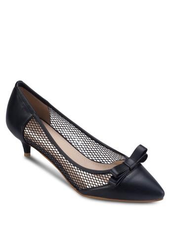 蝴蝶結網眼拼接低跟鞋,zalora 包包 ptt 女鞋, 厚底高跟鞋