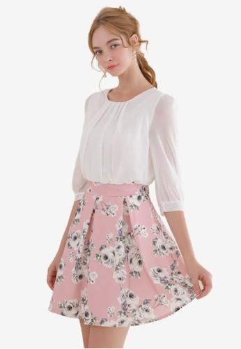 Eyescream white Faux 2-Piece Floral Print Dress C0933AA80F4AD2GS_1