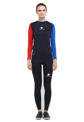 Tiento black Tiento Baselayer Manset Olahraga Long Sleeve Black Blue Red dan Celana Legging Wanita Long Pants 1 Set AD111AACEB60B0GS_1