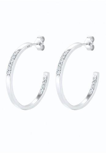Elli Germany silver Perhiasan Wanita Perak Asli - Silver Anting Glamor Hoop Crystal EL948AC89UUSID_1