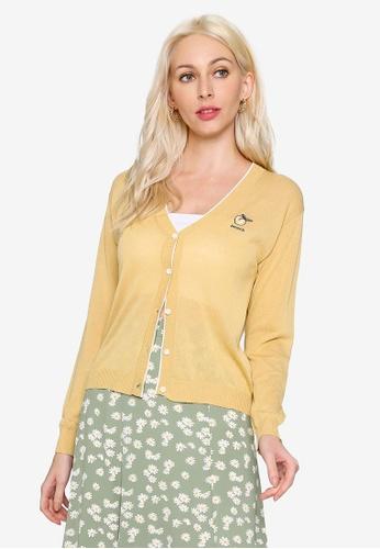 Hopeshow yellow Fruit Embroidered Long Sleeve Button Cardigan 0B882AA3CC9EBDGS_1