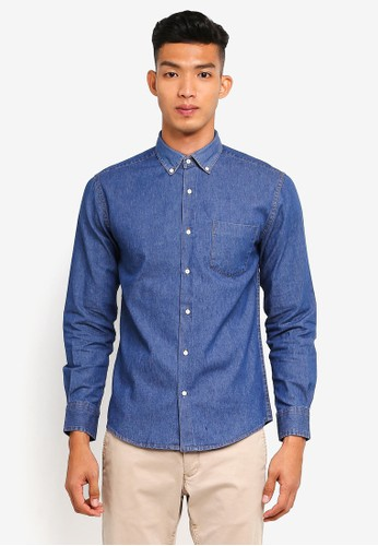 threads by the produce blue Button Down Denim Shirt 01697AA8F07FE3GS_1