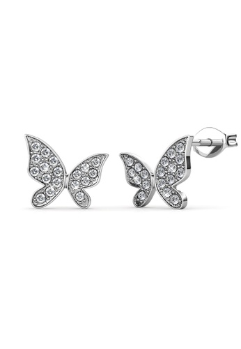 Her Jewellery silver Meadow Butterfly Earrings (White Gold) -  Embellished with Crystals from Swarovski® 067A4AC645CE58GS_1