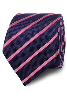 0cc04d3da402 T.M. LEWIN navy T.M.Lewin Navy Pink Stripe Textured Satin Silk Tie  9BAAEACA231682GS_1