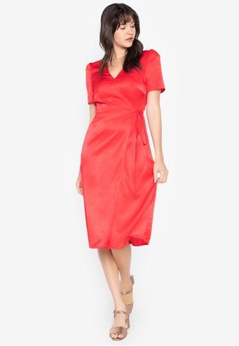 the___edit red Ellie Wrap Dress 36603AA5886AAFGS_1