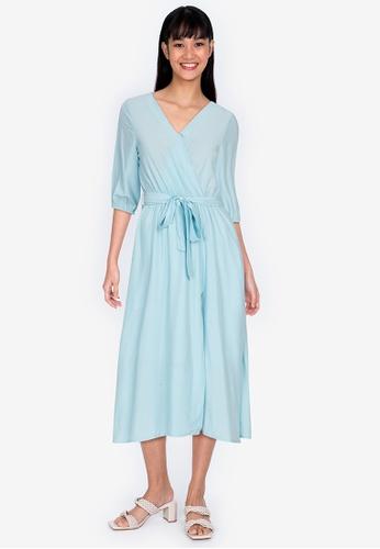ZALORA BASICS 藍色 公主袖綁帶洋裝 E18F3AA39C53C9GS_1