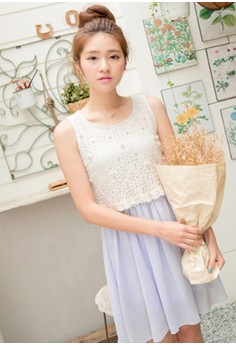 [IMPORTED] Certain Paradise Chiffon Layered Dress - Blue