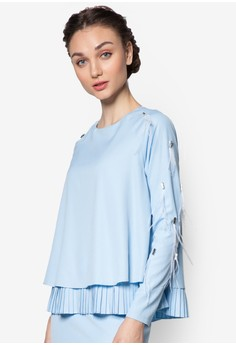 Embellish Pleated Two Layer Top