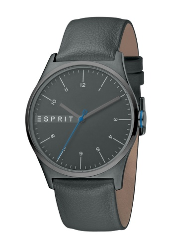 Esprit black ESPRIT [Essential] 40mm Black Leather Strap Men Watch [ES1G034L0045] 27961ACABD6352GS_1