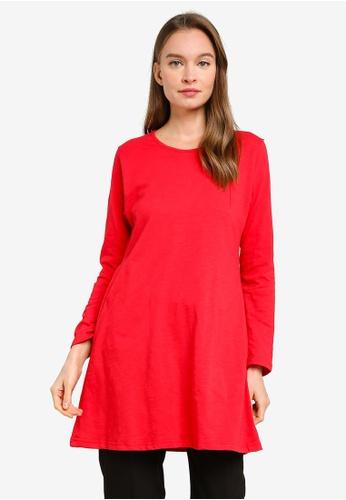 Aqeela Muslimah Wear red Basic Flare Hem Top DE409AAE7D2643GS_1