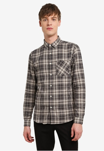 Topman brown Brown Stone Check Shirt TO413AA0RUWXMY_1