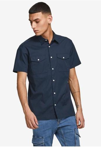 Jack & Jones navy Paul Solid Short Sleeves Worker Shirt 60A56AA7BDE3FDGS_1