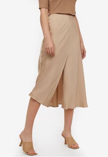H&M beige Slip Skirt FCCD6AAFD7C47DGS_1
