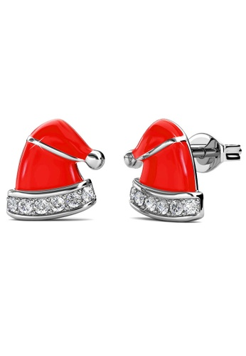 Her Jewellery silver Christmas Hat Earrings -  Made with premium grade crystals from Austria BD19DAC9C5CEFEGS_1