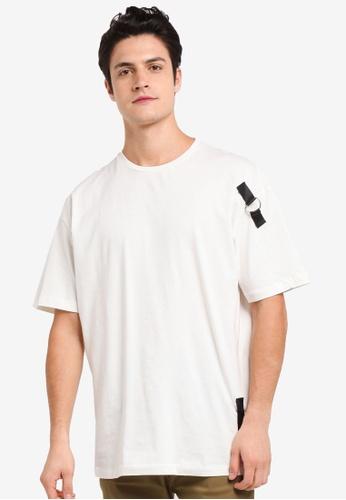 Flesh IMP white Looped Ring Oversized T-Shirt 52A9DAA3CEB499GS_1