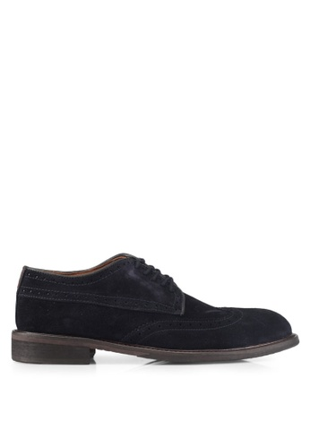 Selected Homme navy Shdbaxter Brogue Suede Shoe A10DDSH43B77ECGS_1