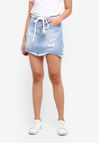Penshoppe blue Regular Length A-Line Skirt In Medium Wash 85AEDAAD0E48B0GS_1