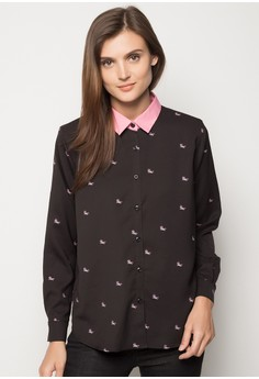 Woven Button Down with All Over Print