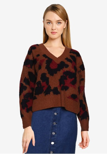 French Connection brown Karmen Animal Print V Neck Jumper 7C1E6AAC511C92GS_1