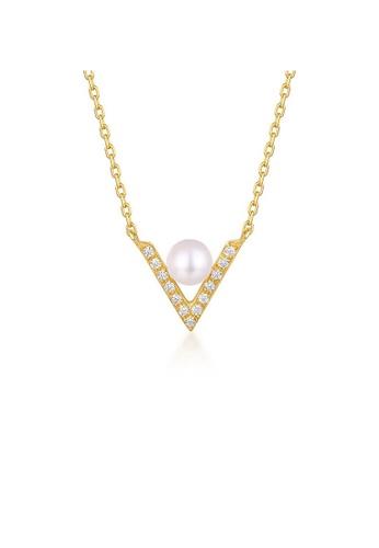 SUNSET gold Premium 925 Sliver Pearl Necklace 73DC8ACC2E8826GS_1