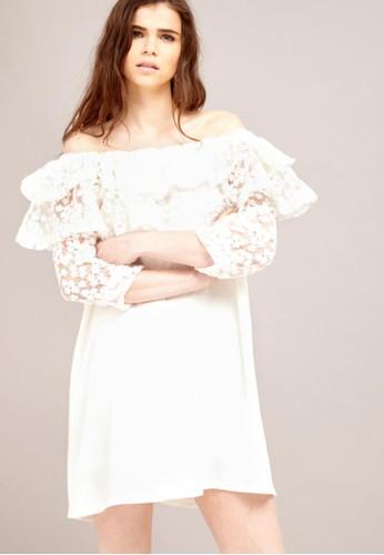 露zalora鞋子評價肩蕾絲洋裝, 服飾, 短洋裝