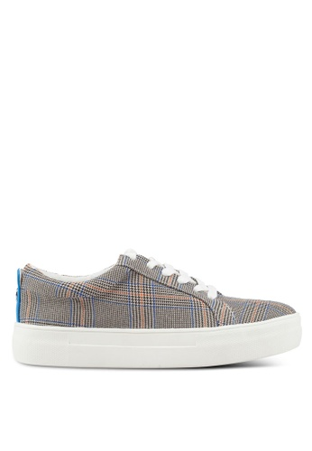 TOPSHOP 灰色 Chloe Check Lace Up Trainers F8FAFSHB0B207AGS_1