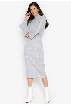 1d4d2e43ae1d Cortefiel grey Knit Dress With Bell Sleeves And Perkins Neck  263F1AAD548970GS_1