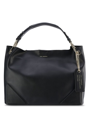 KARL LAGERFELD black K/Slouchy Shopper Bag KA533AC23XBKMY_1