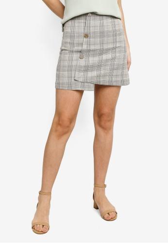 Hopeshow green Front Overlap Plaid Mini Skirt 5CC49AA2098C88GS_1
