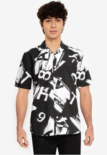 Only & Sons black Printed Seersucker Shirt 2C9C6AAE63FFAFGS_1