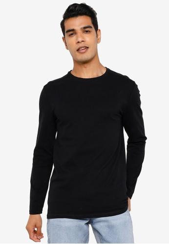 Springfield black Henley Long-Sleeved T-Shirt BE10EAAE544CE5GS_1